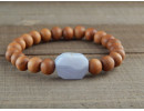 Sandalwood and blue lace agate bracelet