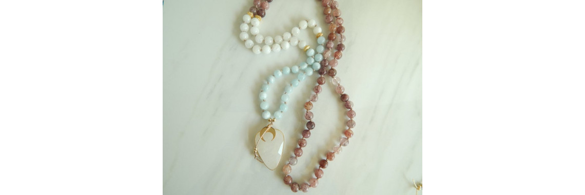 Strawberry quartz and aquamarine mala