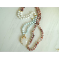 Handknotted 108 bead mala necklace, Courage mala