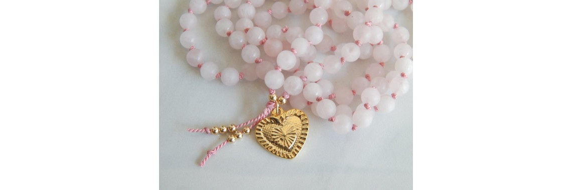 Rose quartz mala necklace with heart pendant