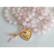 Rose quartz mala necklace, 108 bead mala, Heart mala, heart chakra